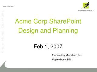 Acme Corp SharePoint Design and Planning  Feb 1, 2007