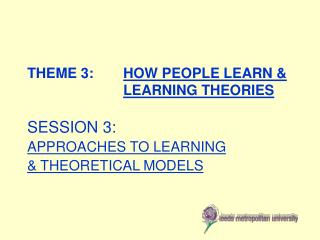 THEME 3:  	 HOW PEOPLE LEARN &  LEARNING THEORIES