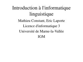 Introduction à l'informatique linguistique