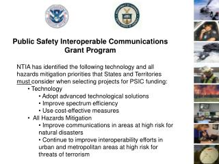 Public Safety Interoperable Communications  Grant Program