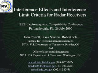 Interference Effects and Interference-Limit Criteria for Radar Receivers