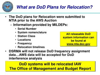 What are DoD Plans for Relocation?