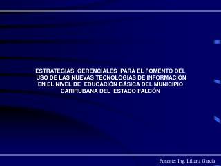 Ponente: Ing. Liliana García