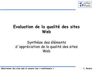 Evaluation de la qualité des sites Web