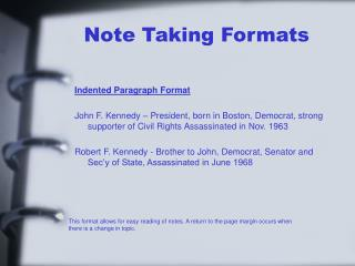 Note Taking Formats
