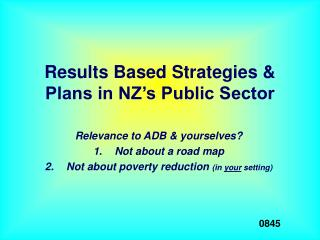 Results Based Strategies & Plans in NZ's Public Sector