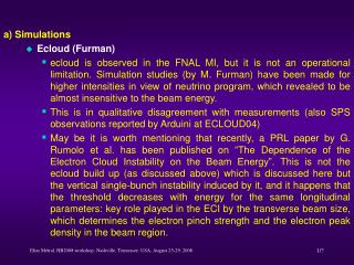 a) Simulations Ecloud (Furman)