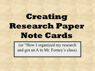 Note Cards Research Paper Examples Creating Digital Notecards in APA Format