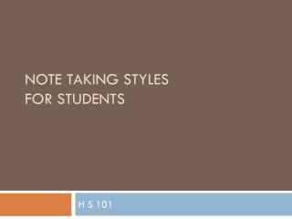 Note Taking styles  for students