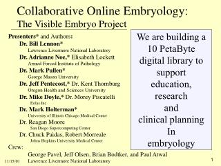 Collaborative Online Embryology: The Visible Embryo Project