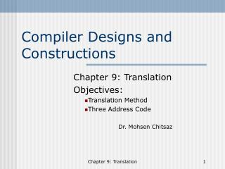 Compiler Designs and Constructions