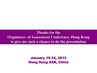 January 15-16, 2013 Hong Kong SAR, China