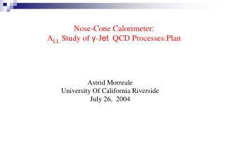 Nose-Cone Calorimeter:  A LL  Study of  γ -J et   QCD Processes:Plan