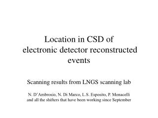 Location in CSD of  electronic detector reconstructed events