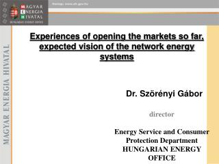 Experiences of opening the markets so far, expected vision of the  network  energy system s