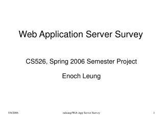 Web Application Server Survey