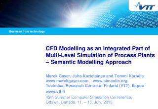 CFD Modelling as an Integrated Part of Multi-Level Simulation of Process Plants   Semantic Modelling Approach