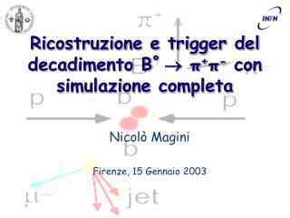 Ricostruzione e trigger del decadimento B º    π + π -  con simulazione completa