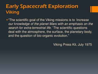 Early Spacecraft Exploration Viking