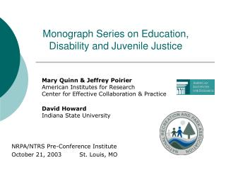 Monograph Series on Education, Disability and Juvenile Justice