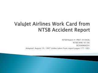 ValuJet Airlines Work Card from NTSB Accident Report