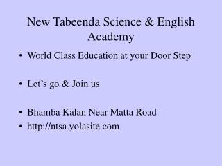 New Tabeenda Science & English Academy