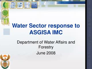 Water Sector response to ASGISA IMC