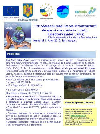 Extinderea si reabilitarea infrastructurii de apa si apa uzata in Judetul Hunedoara (Valea Jiului)