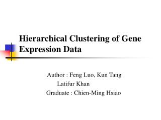 Hierarchical Clustering of Gene Expression Data