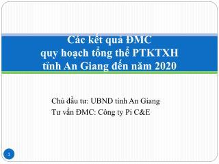Các kết quả ĐMC quy hoạch tổng thể PTKTXH tỉnh An Giang đến năm 2020