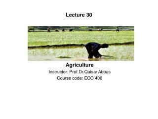Agriculture Instructor: Prof.Dr.Qaisar Abbas Course code: ECO 400