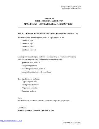 Program Studi Teknik Sipil Universitas Mercu Buana MODUL 10 TOPIK : PEKERJAAN JEMBATAN