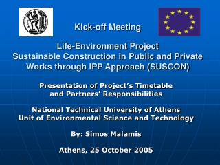 Presentation of Project's Timetable  and Partners' Responsibilities