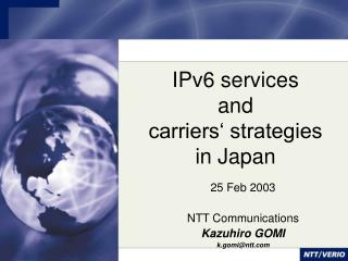 IPv6 services and carriers' strategies in Japan