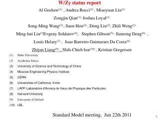 W/Z  status report