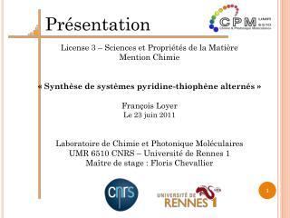 License 3 – Sciences et Propriétés de la Matière Mention Chimie