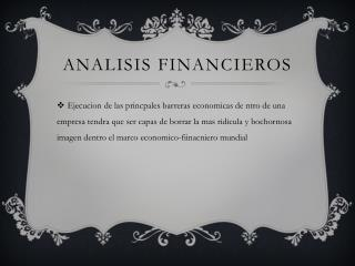 Analisis  financieros