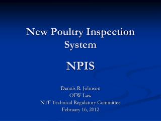 New Poultry Inspection System NPIS