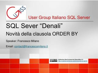 """SQL Sever """"Denali"""" Novità della clausola  ORDER BY"""
