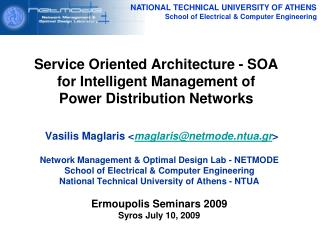 Service Oriented Architecture - SOA for Intelligent Management of  Power Distribution Networks