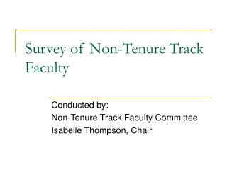 Survey of Non-Tenure Track Faculty