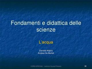 Fondamenti e didattica delle scienze