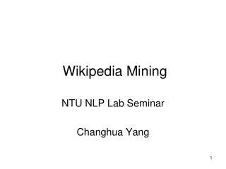 Wikipedia Mining