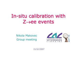 In-situ calibration with Zee events