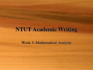 NTUT Academic Writing