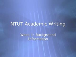 NTUT Academic Writing