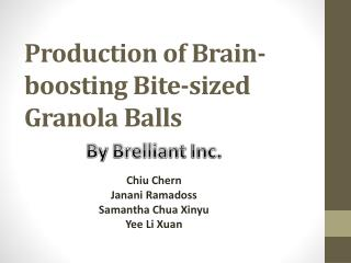 Production of Brain-boosting Bite-sized Granola Balls