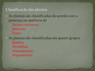 Classificação das plantas