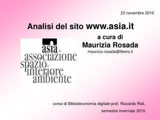 corso di Biblioteconomia digitale prof. Riccardo Ridi,  semestre invernale 2010