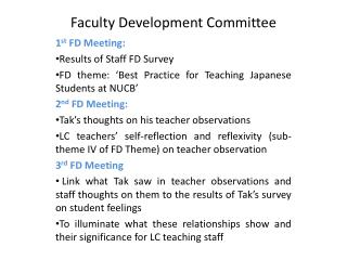 Faculty Development Committee